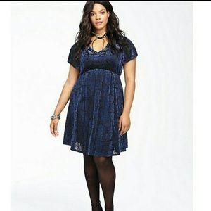 Blue velvet Torrid skater dress with swirl design.
